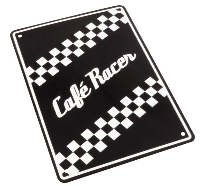 PLACA DE ALUMINIO CAFE RACER 205mm x 290mm