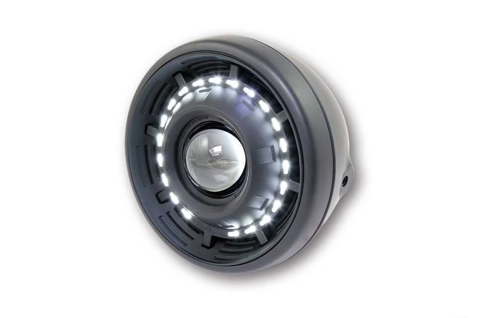 "HEADLIGHT UNIVERSAL ECLIPS & LED MATT BLACK 7,5""(E-mark) H3"