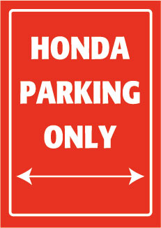 Placa de Aluminio Honda Parking Only