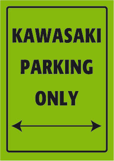 Placa de Aluminio Kawasaki Parking Only