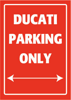 Placa de Aluminio Ducati Parking Only